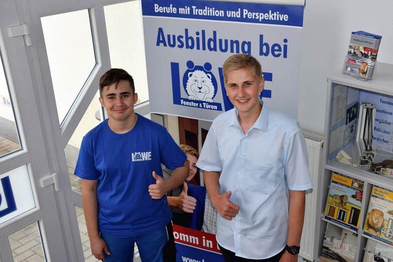 Eren und Torben - Auszubildende 2018 bei Löwe Fenster & Türen