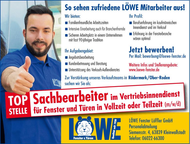 Stellenangebot LÖWE Fenster Rödermark: Sachbearbeiter im Vertriebsinnendienst (m/w/d)