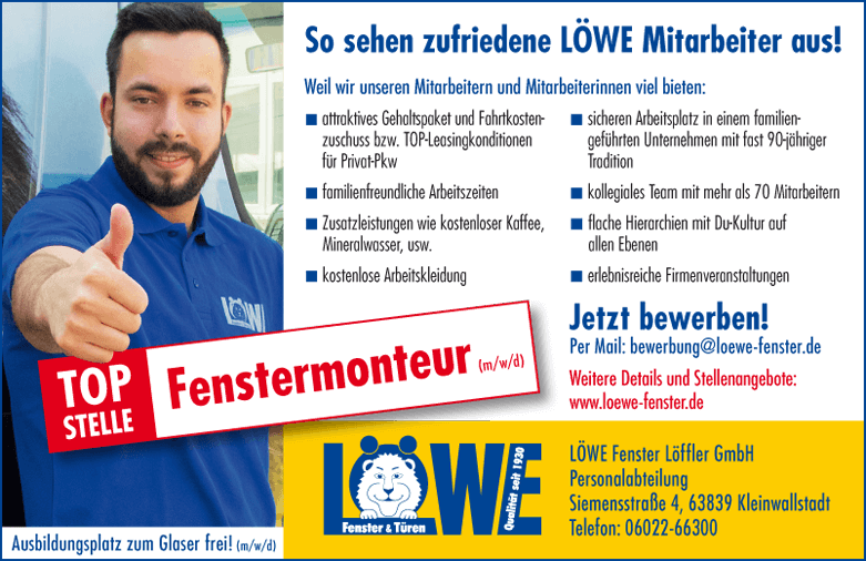 Stellenangebot: Fenstermonteur (m/w/d) bei LÖWE Fenster & Türen in 63839 Kleinwallstadt
