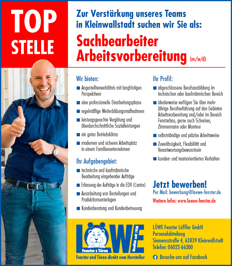 Stellenangebot: Sachbearbeiter Arbeitsvorbereitung (m/w/d) LÖWE Fenster Löffler GmbH